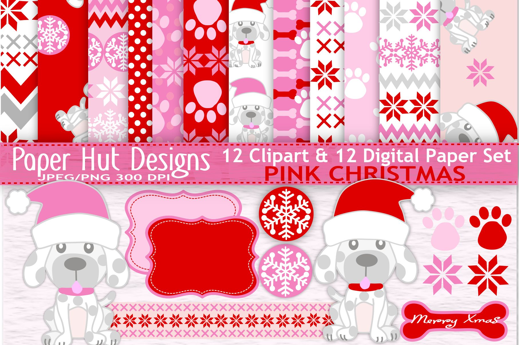 Christmas Dog Clipart And Digital Papers Set Example Image 1