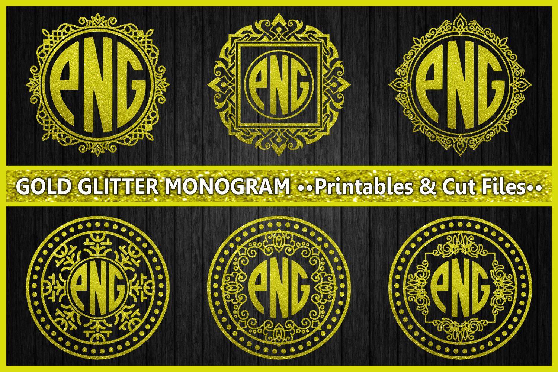 monogram gold glitter, cut files, gold glitter, ornament, monogram letters, digital prints, scrapbooking, glitter example image 1
