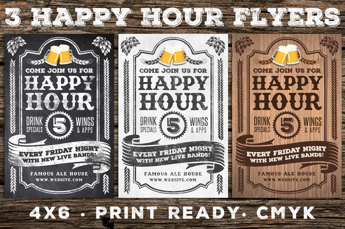 3 Vintage Happy Hour Flyers example image 1