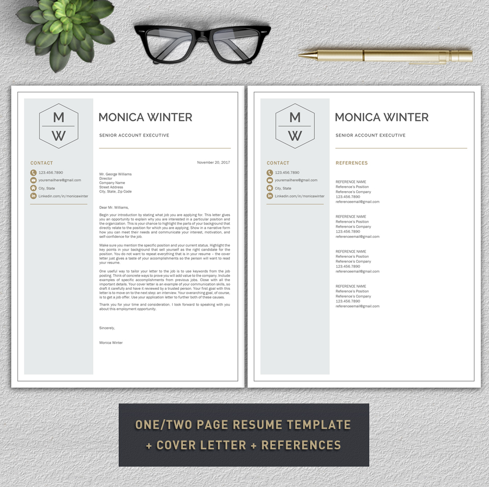 Resume Template  Cv Template  Cover L  Design Bundles