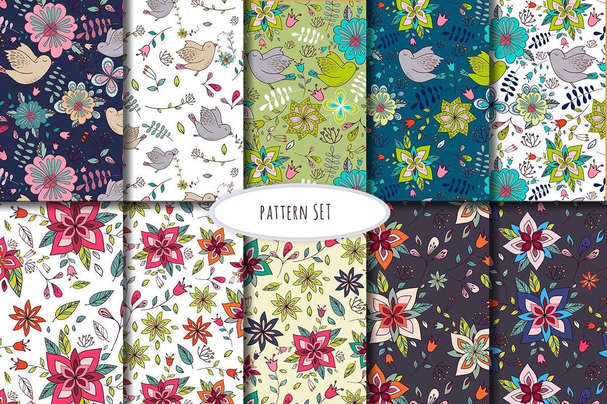 Floral & birds. Alphabet/patterns example image 6