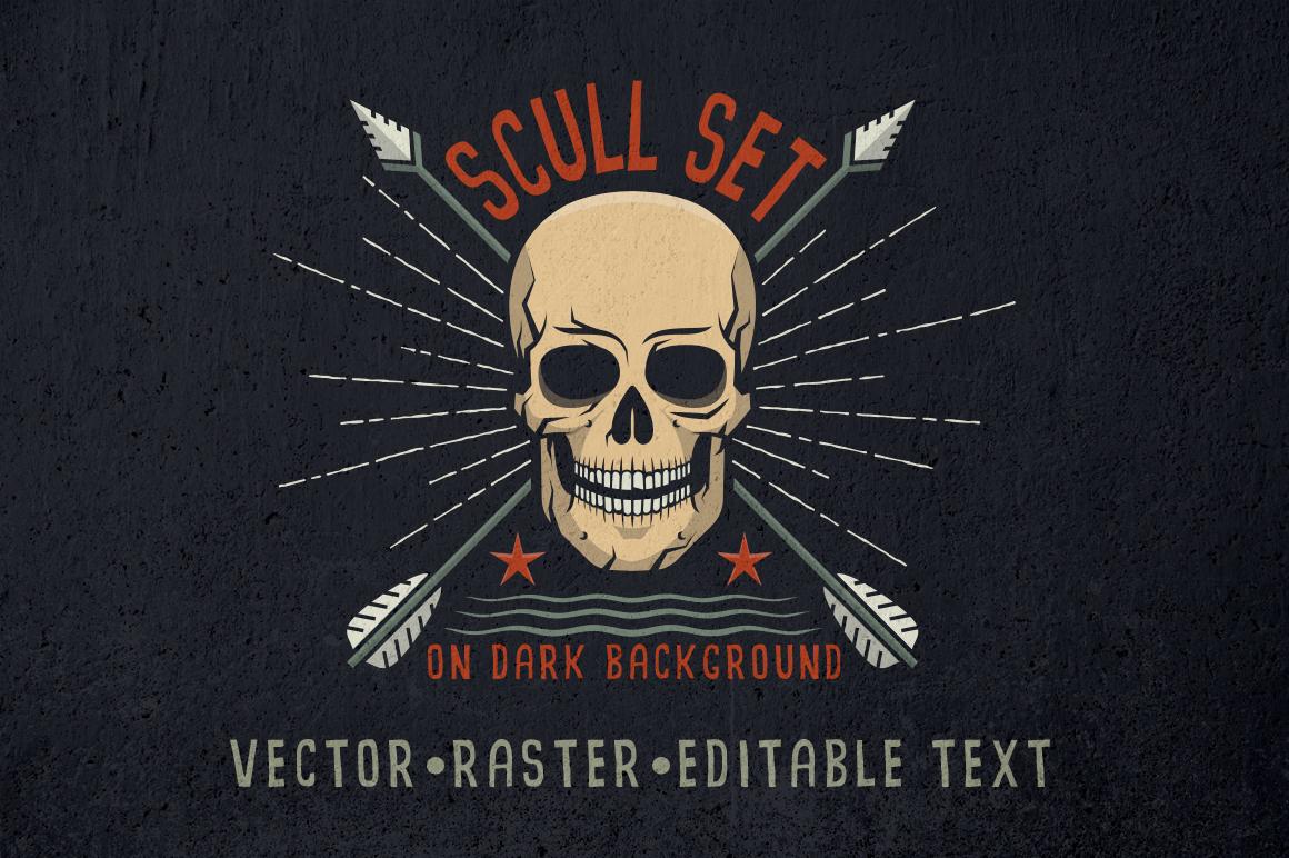 Skull logo set on dark example image 1