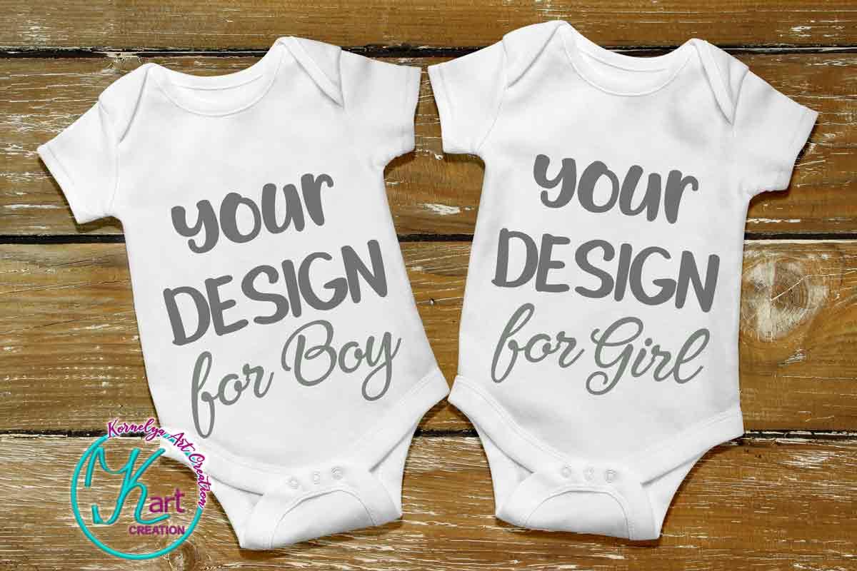 Blank White Baby Mockup, White Baby Bodysuit mock up, Baby Mock up - Flat, Top View, Wood Background, two white baby onesie mockups, JPEG example image 1