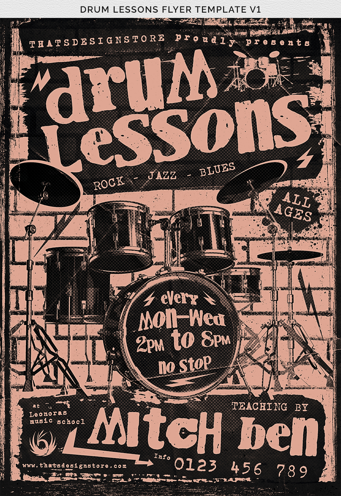 Drum Lessons Flyer Template V1 example image 10