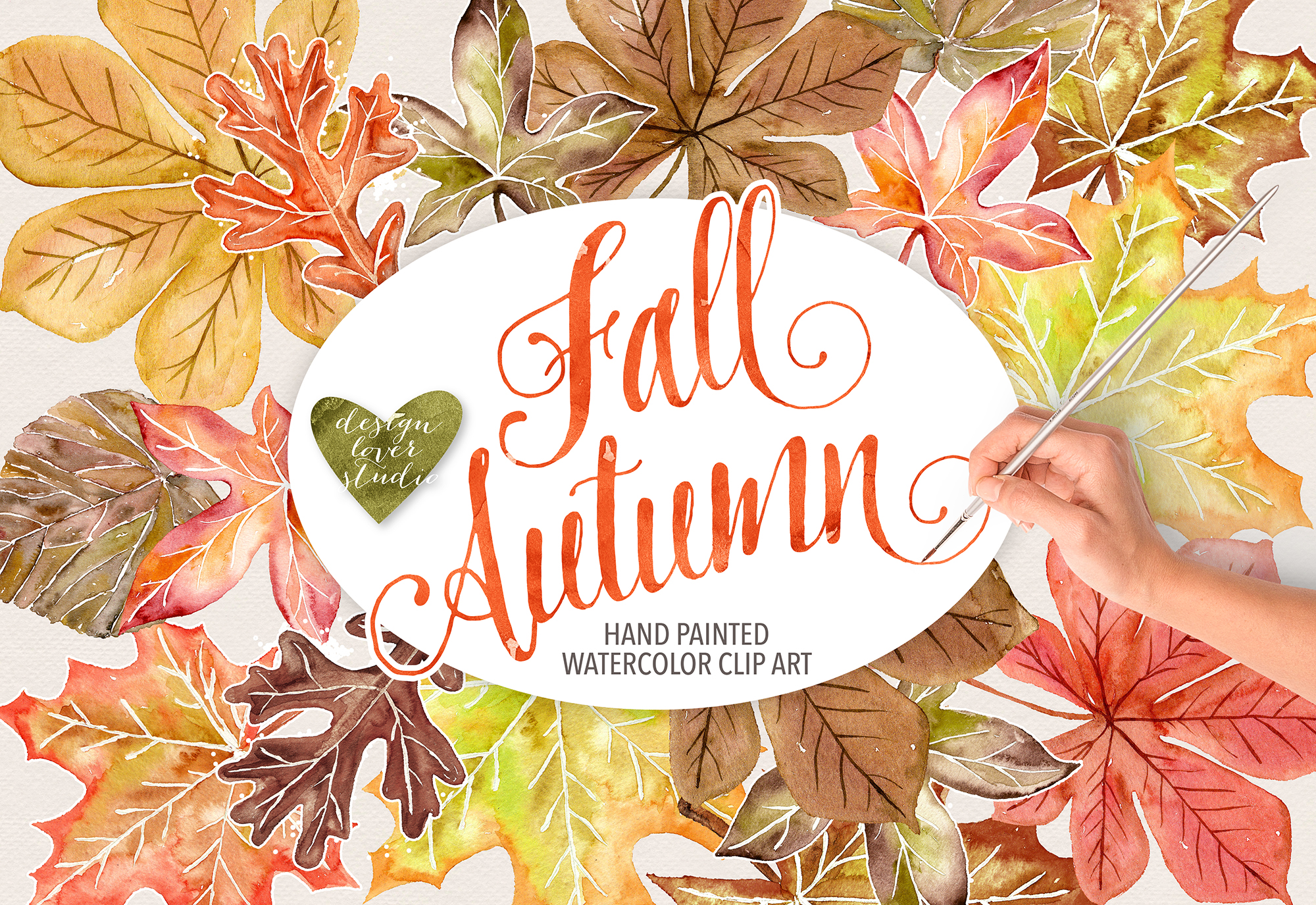 Watercolor Autumn Leaves Fall clip art example image 1