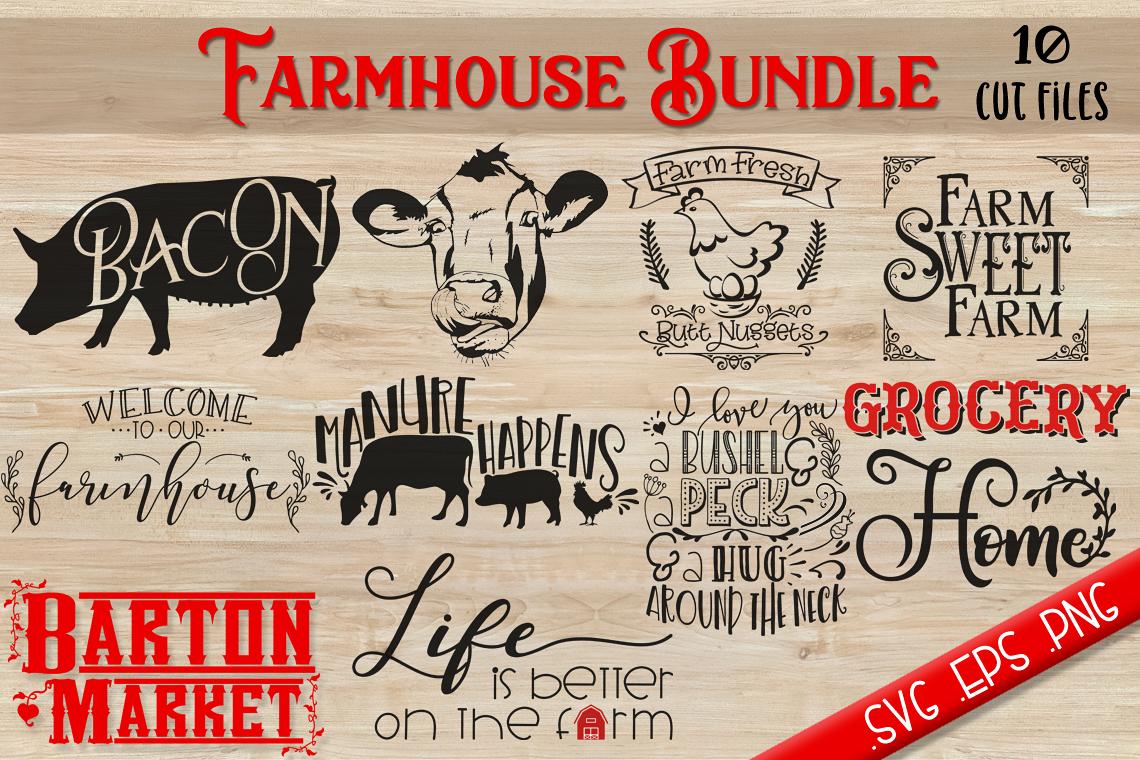 Farmhouse Bundle {10 Cut Files} SVG / EPS / PNG example image 1