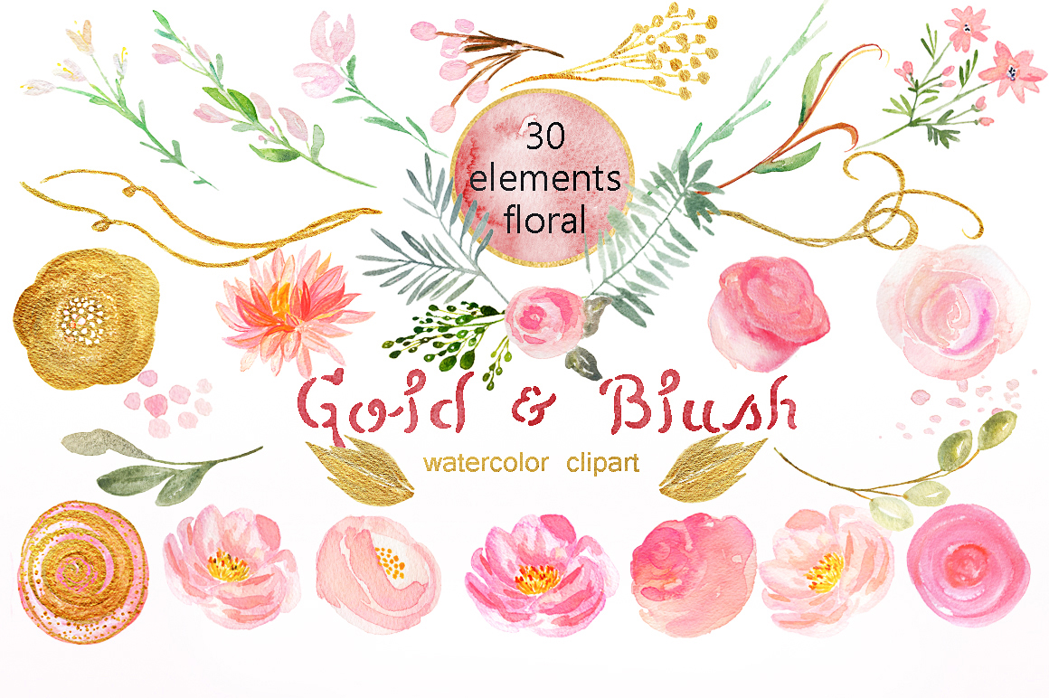 Gold & blush watercolor flowers example image 6
