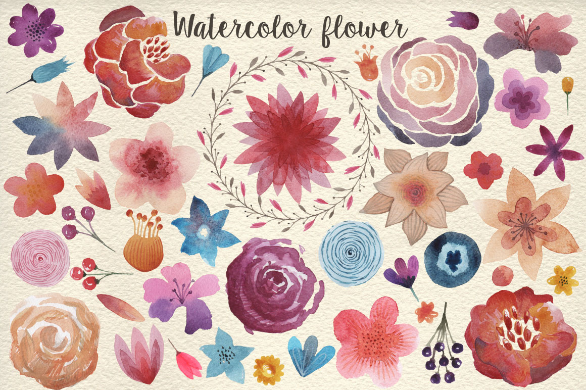 159 Watercolor flowers & florals example image 2