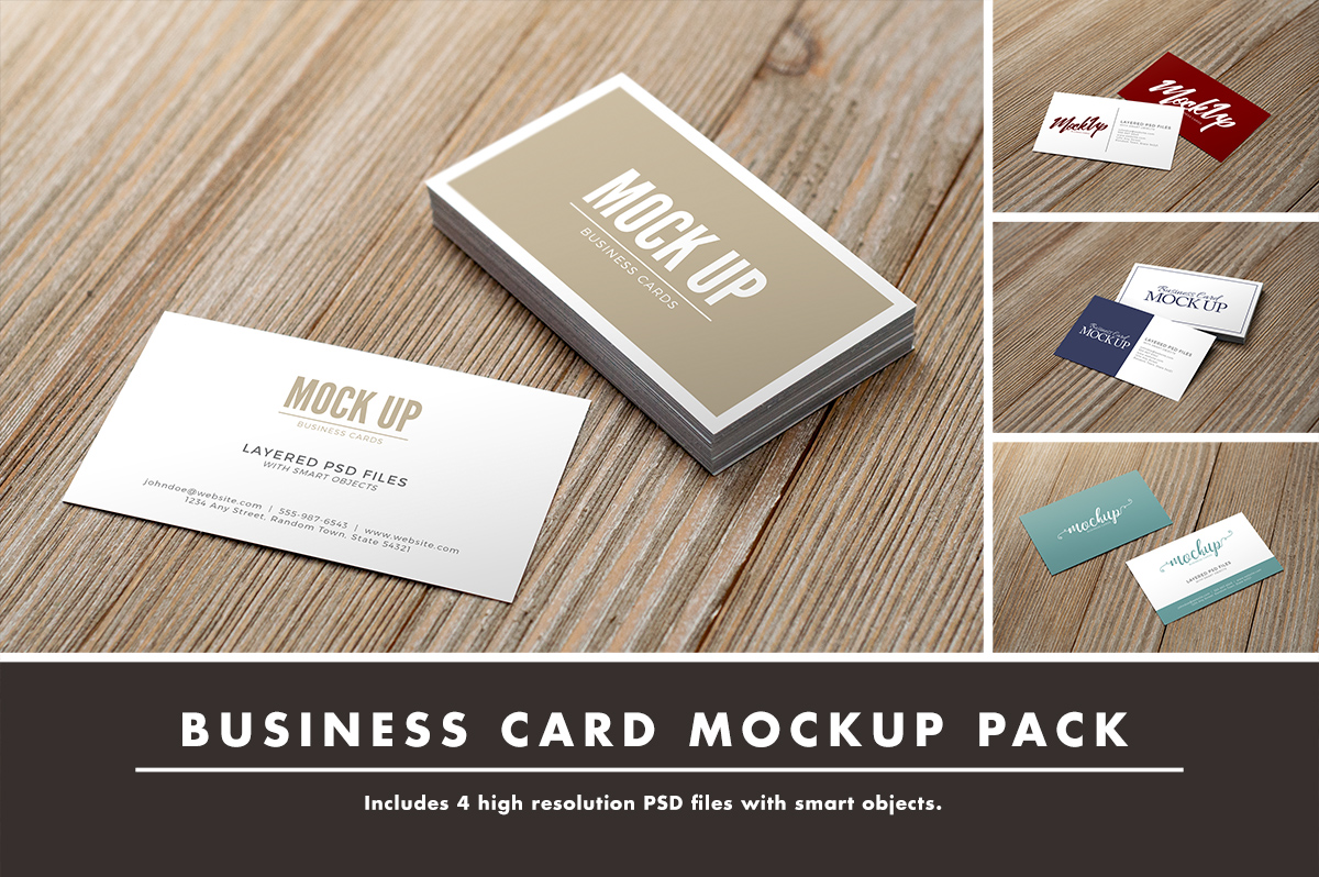Business Card on Wood Mockup Pack by Ha | Design Bundles