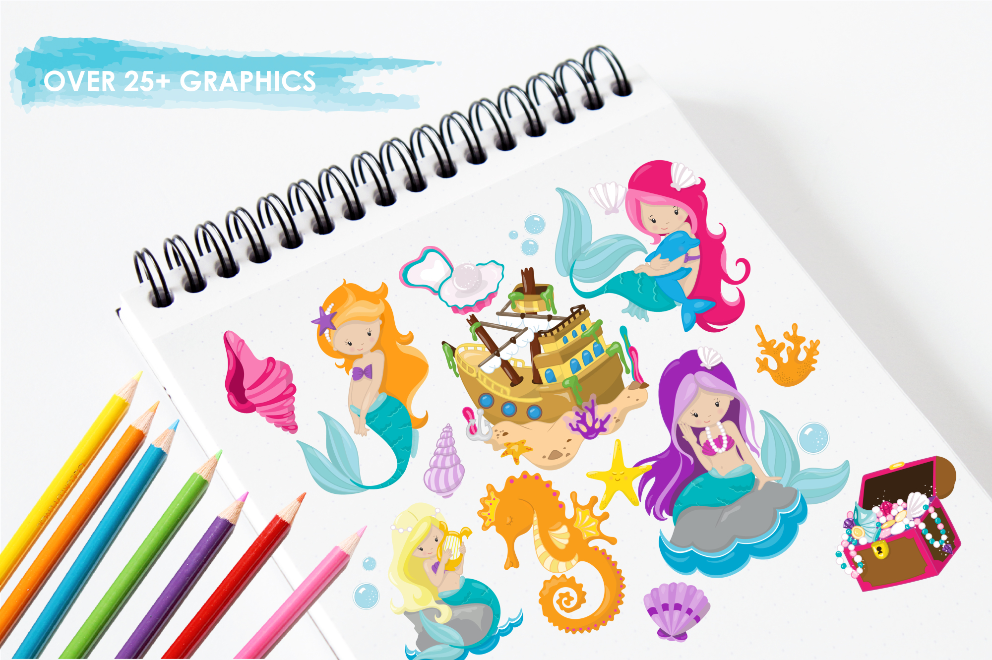 Mermaids graphics and illustrations example image 3