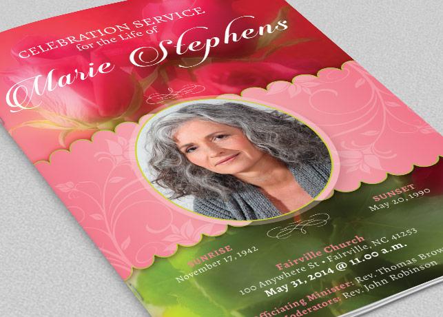 Decorative Funeral Program Template by | Design Bundles