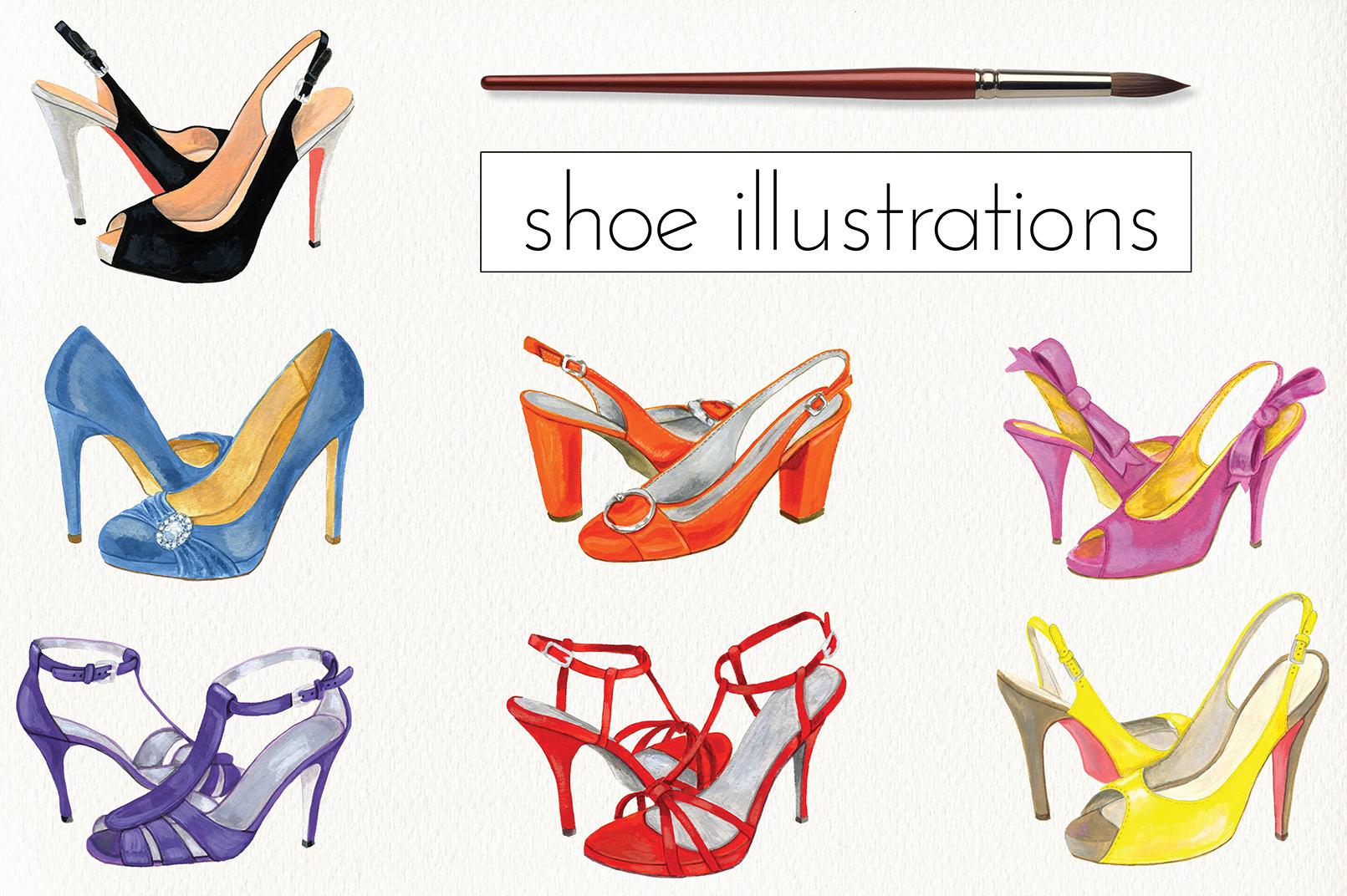 Fashion Shoe Illustrations example image 1