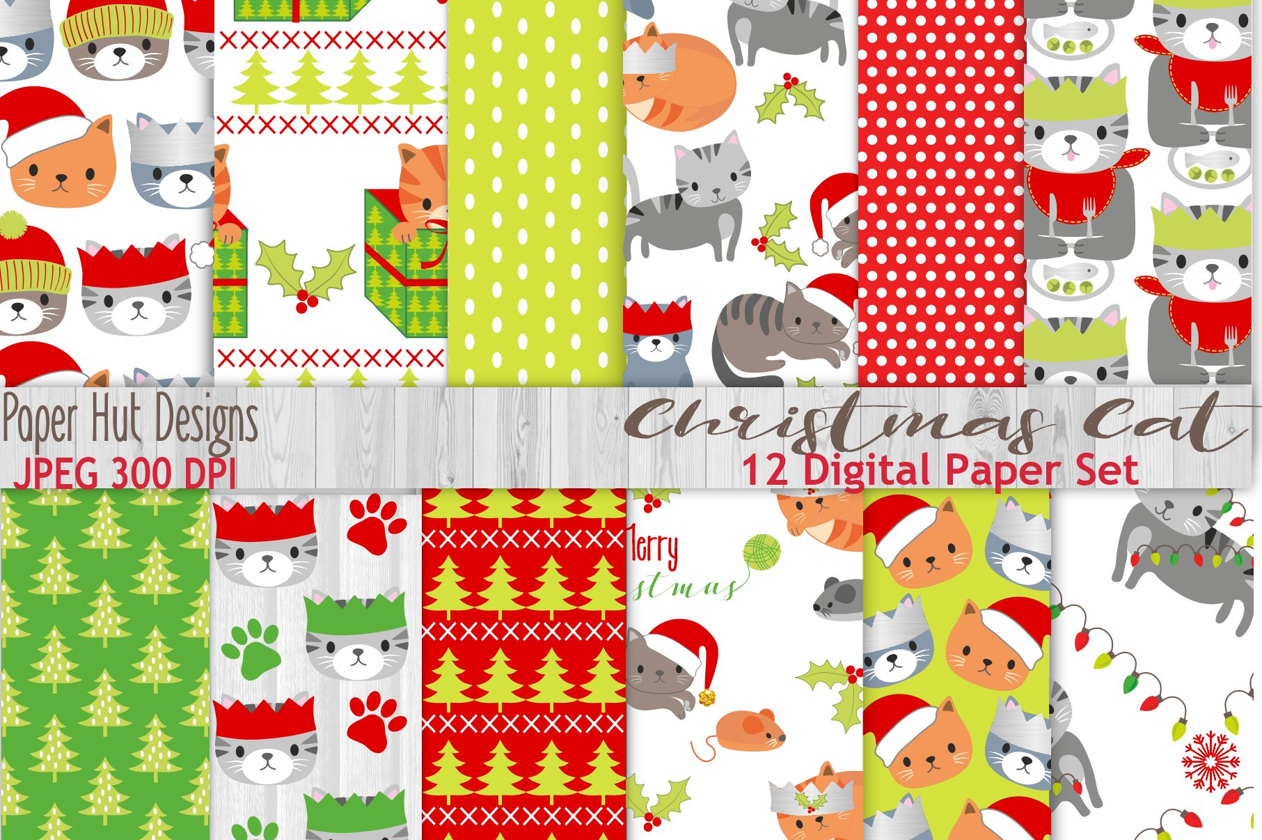 Christmas Cat Digital Papers Example Image 1