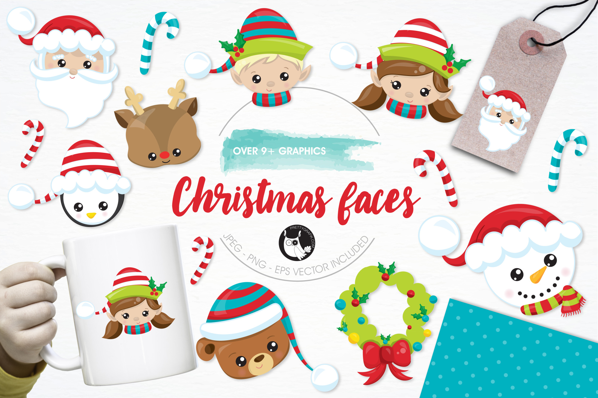 Christmas Faces graphics and illustrations example image 1