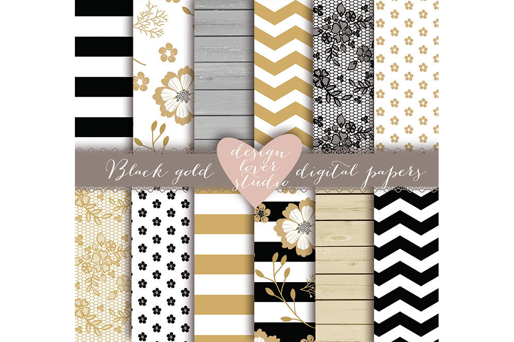 Rustic stripes gold black digital paper example image 1