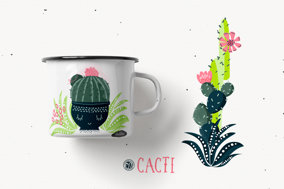 Cacti With Smiling Pots example image 3