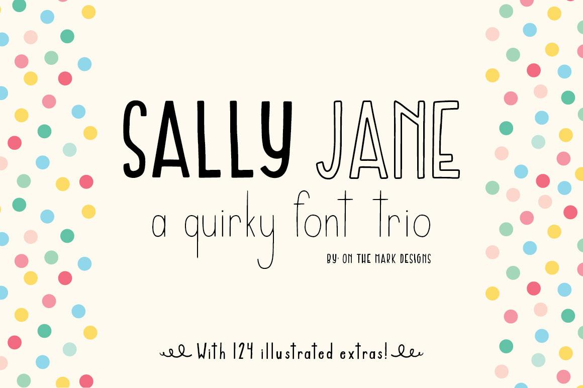 sally jane san serif font trio by on th font bundles. Black Bedroom Furniture Sets. Home Design Ideas