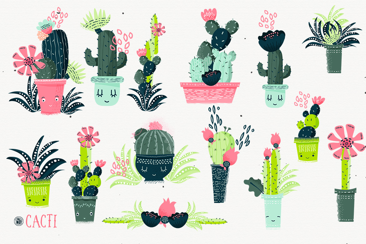 Cacti With Smiling Pots example image 6