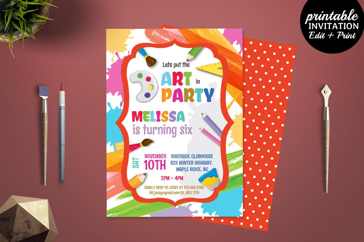 Printable Art Party Invitation Templa | Design Bundles
