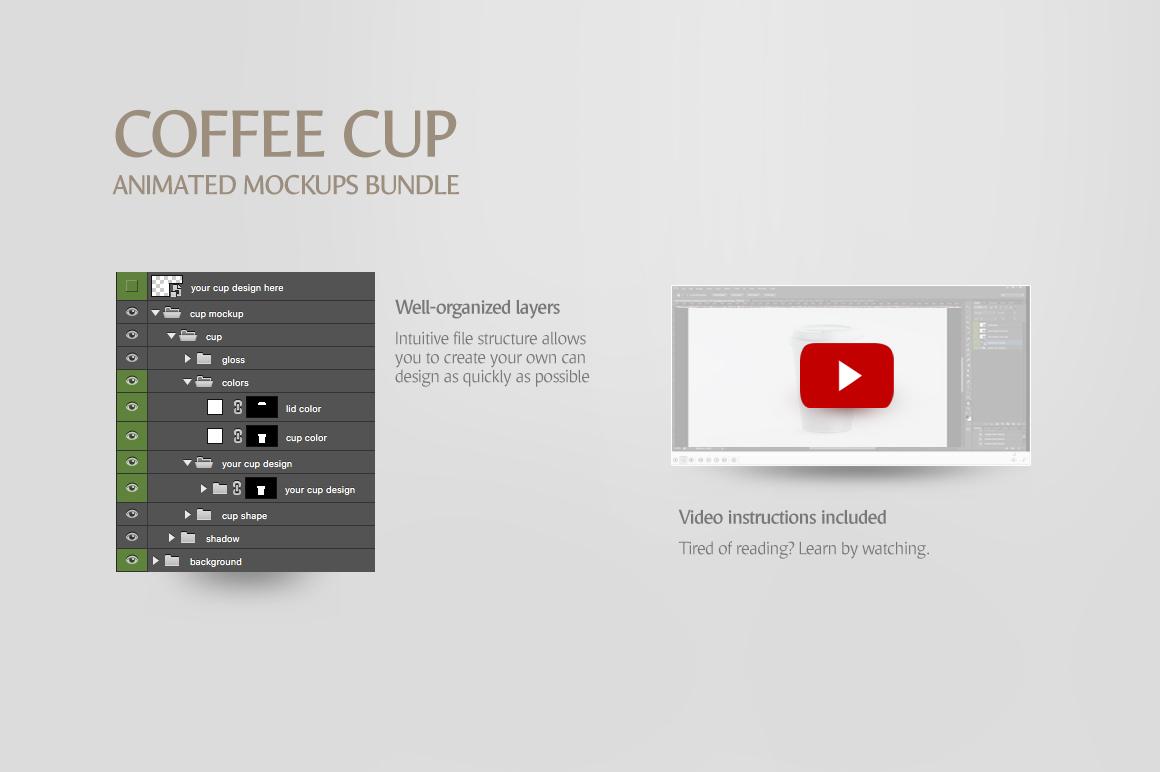 Coffee Cup Animated Mockups Bundle (Coffe mug mock up, cofee cup mockup, tea take away cup mock-up) example image 11