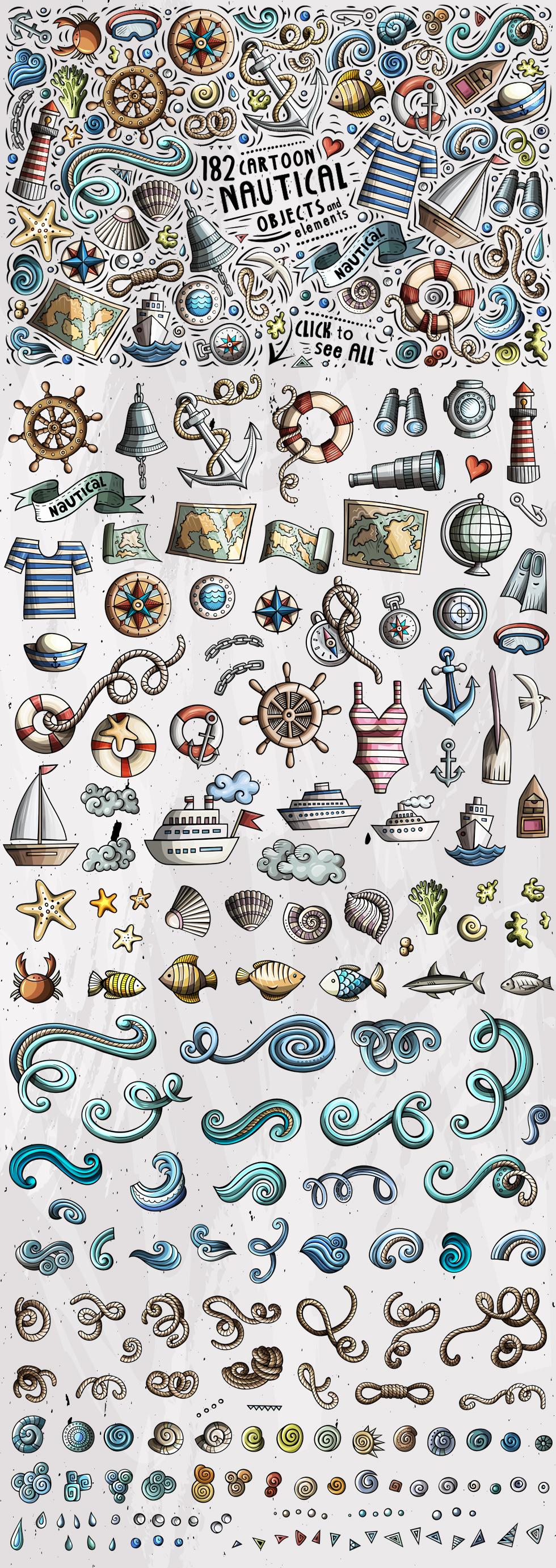 Nautical Cartoon Objects Set example image 3