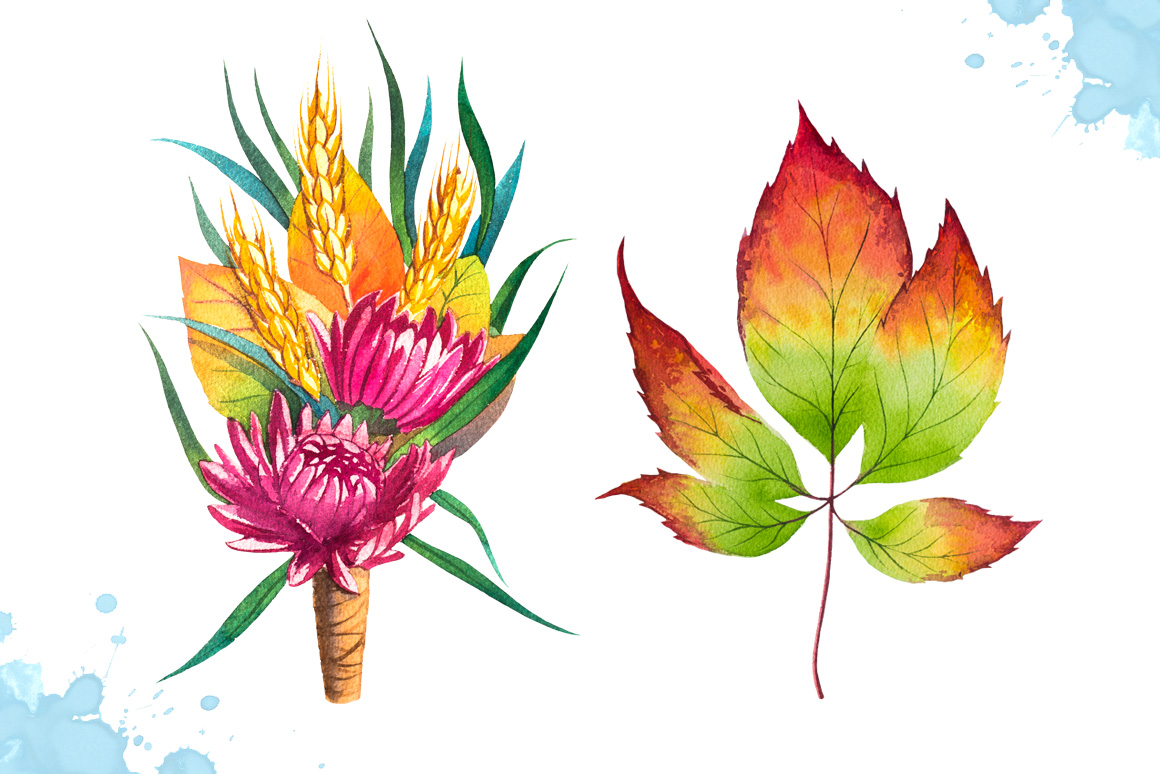 Autumn leaves. Watercolor set. example image 7