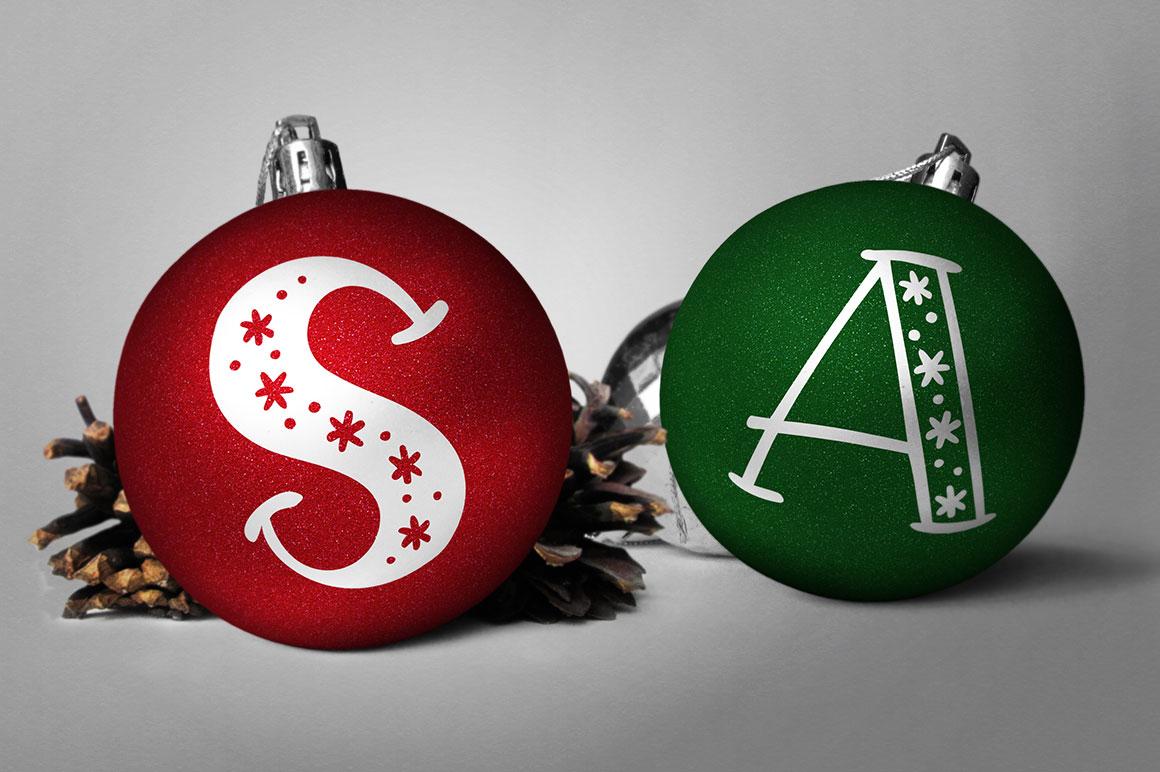 Big Freeze & Big Frost - Christmas ornament monogram idea mockup