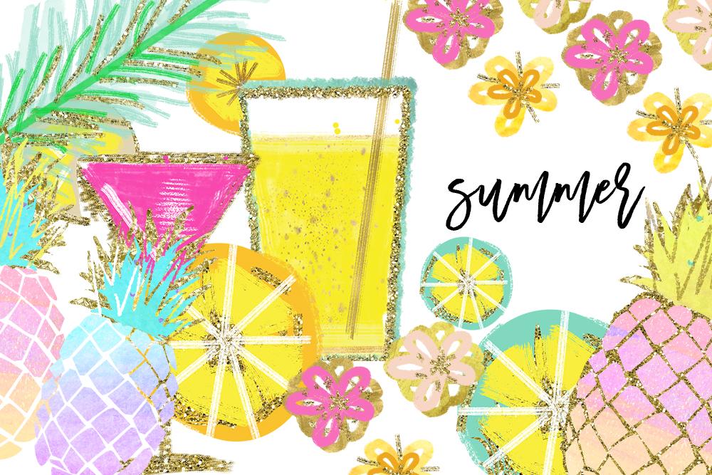 Tropical Clip Art, Watercolor Summer Cl | Design Bundles
