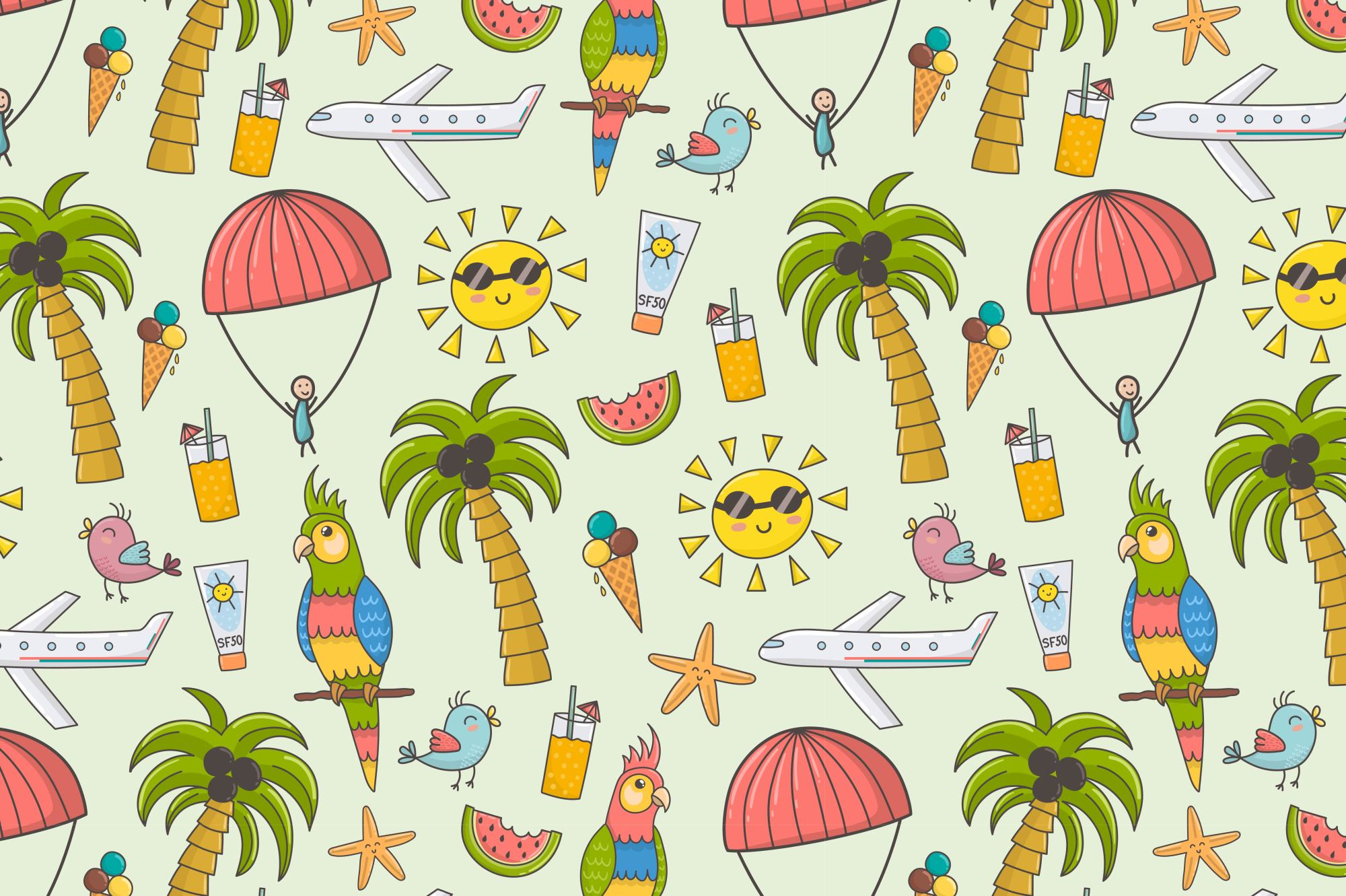 Summer Time: pattern & clipart example image 2