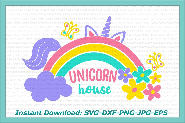unicorn svg, rainbow svg, flowers svg, cloud svg, unicorn house svg, unicorn iron on, printable, unicorn with rainbow svg, unicorn, clipart example image 1
