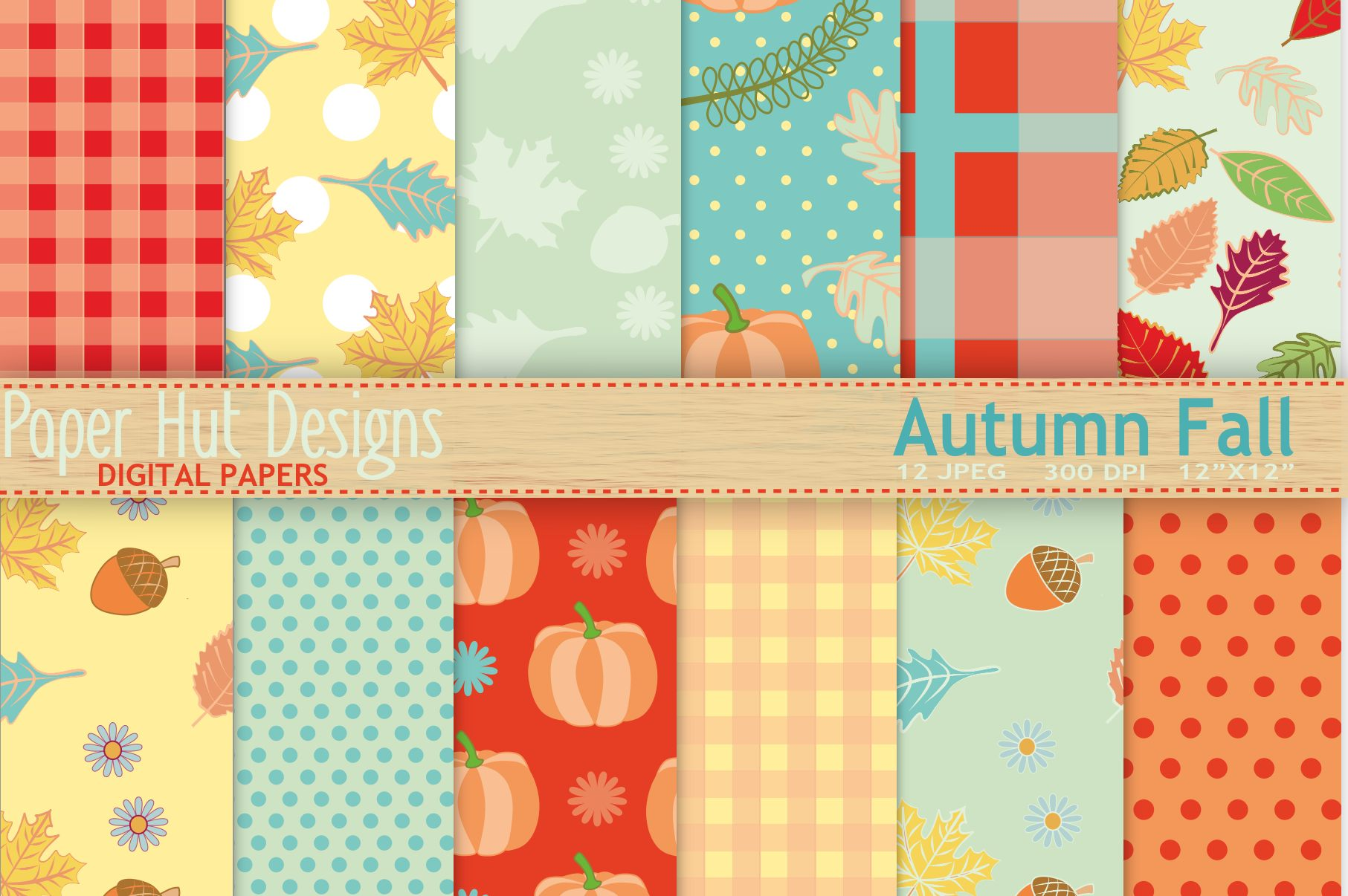 Autumn Fall Digital Papers Example Image 1