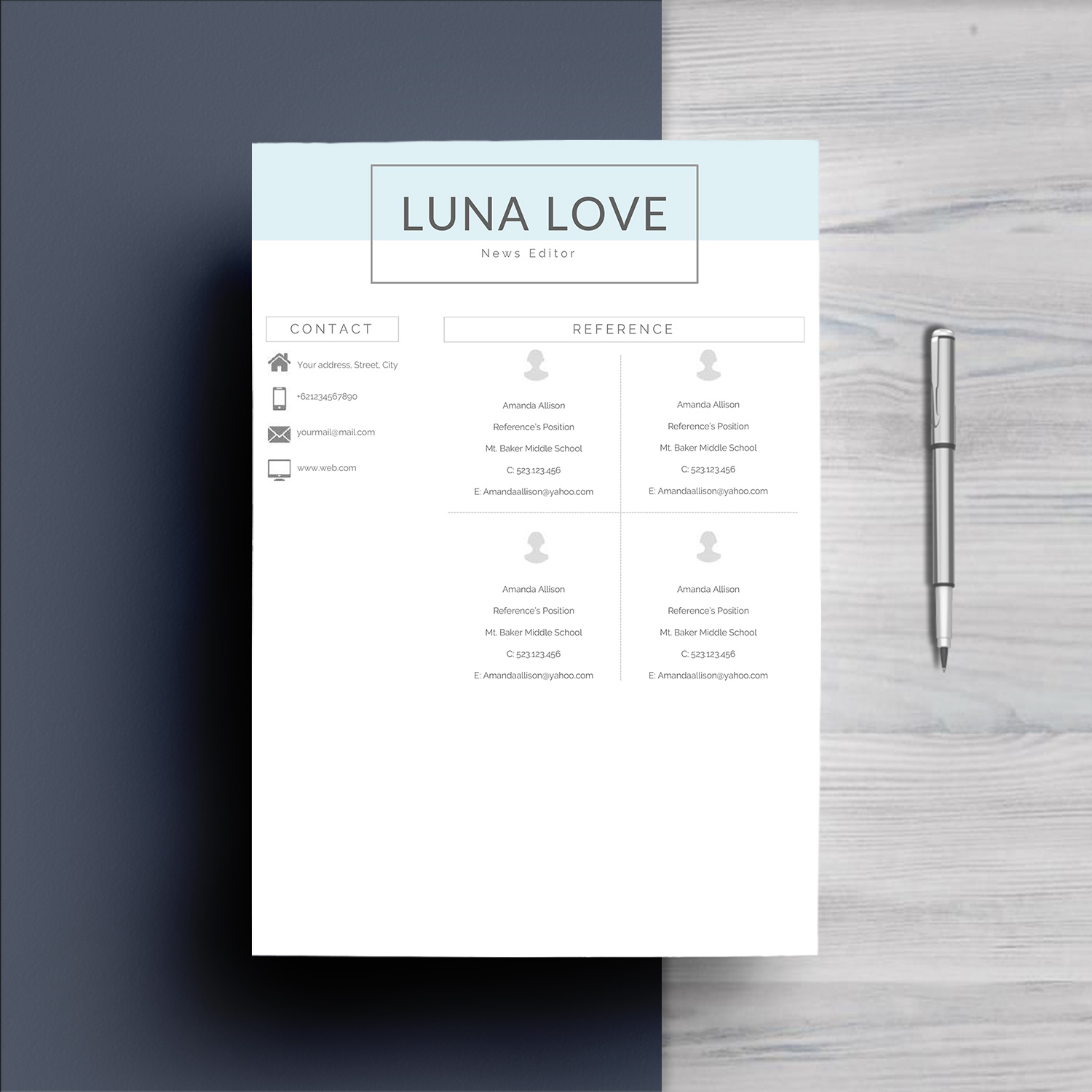 Professional 4 Pages Resume Template By | Design Bundles