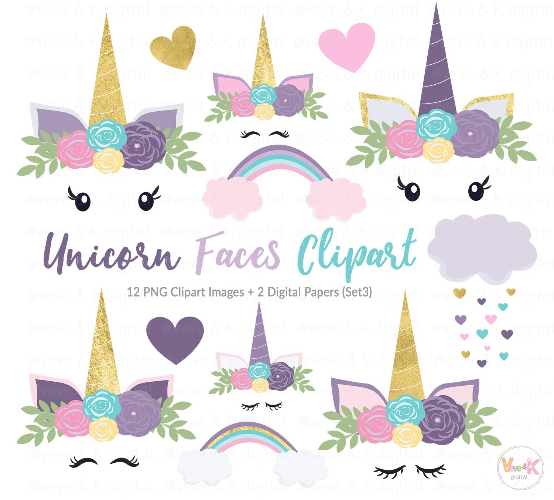 purple unicorn faces clipart unicorns design bundles rh designbundles net unicorn clipart coloring page unicorn clipart png