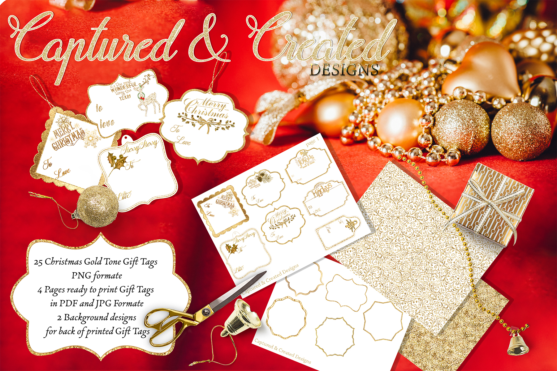 Diy 25 Christmas Glitter & Gold Gift Tags, Example Image