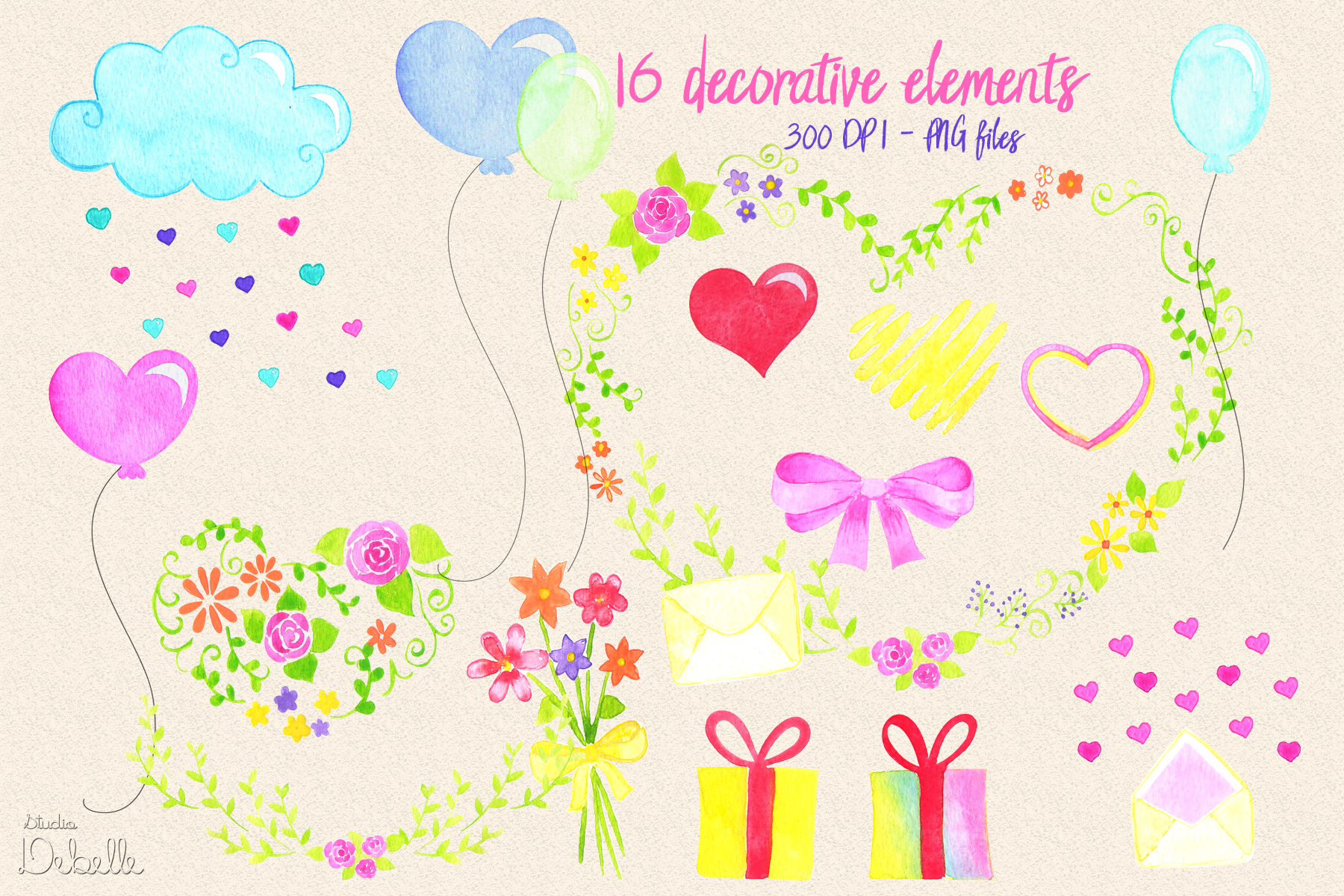 MOMMY SWEET MOMMY - watercolor handmade clipart collection - 20 elements example image 2