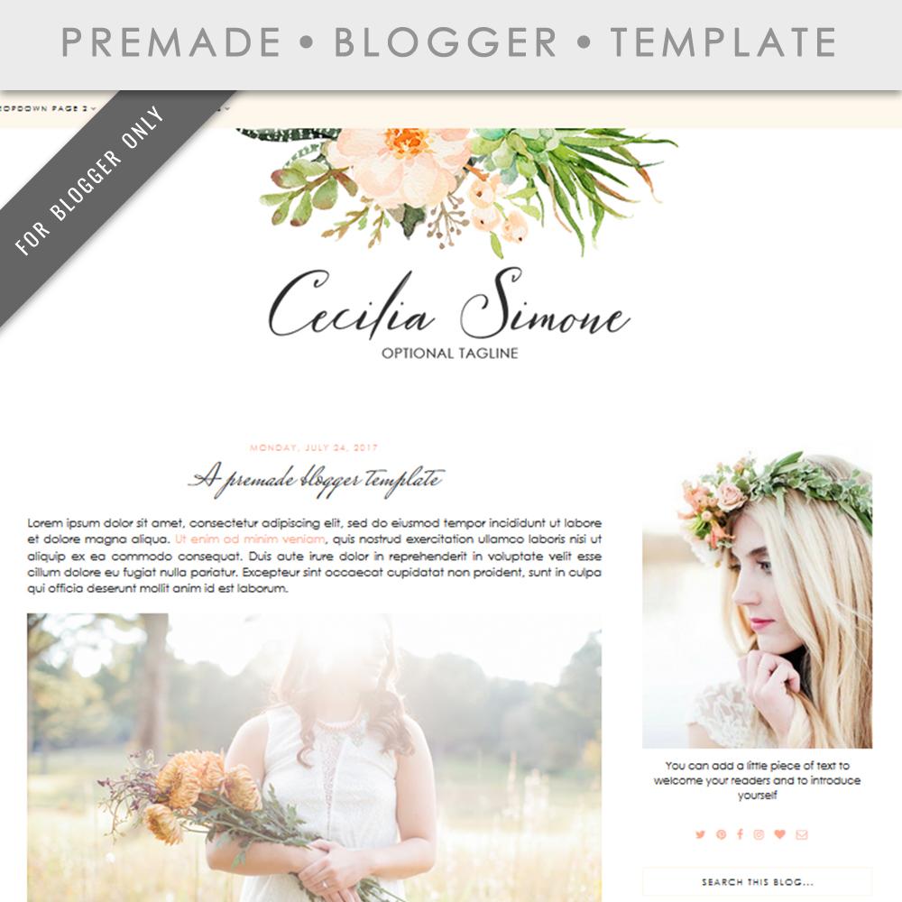 Premade Blogger Template - Mobile Respo | Design Bundles