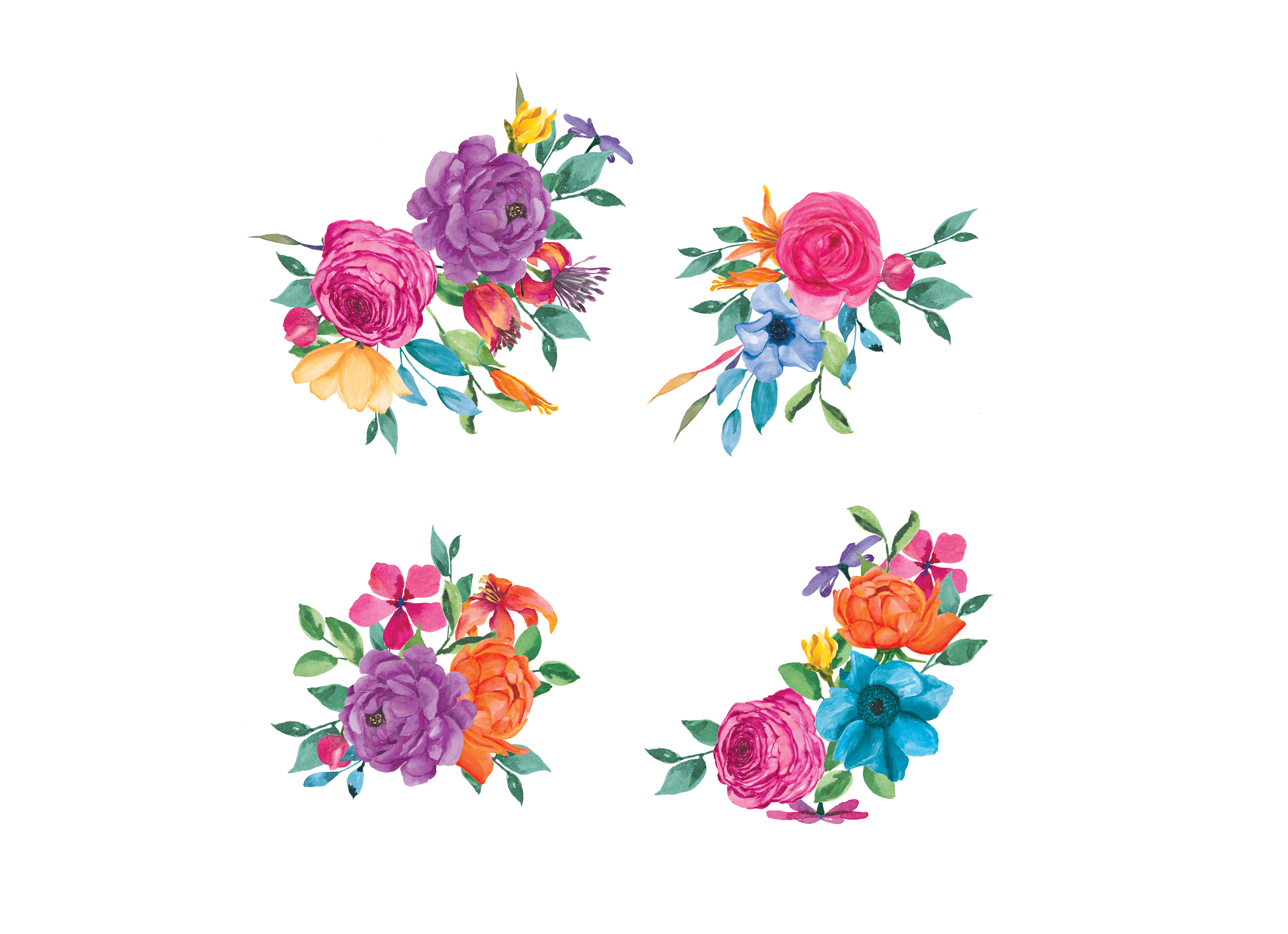 colorful watercolor floral clipart hand design bundles rh designbundles net floral clipart transparent floral clipart png