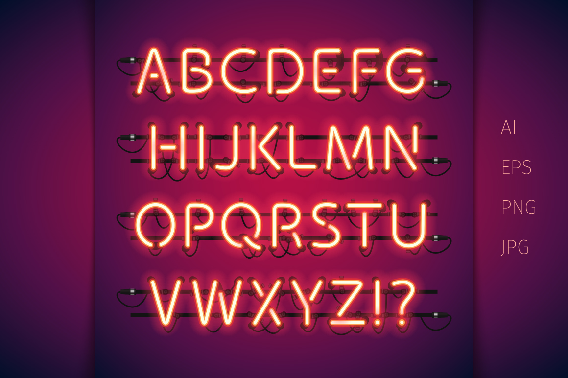 Red Glowing Neon Type example image 2
