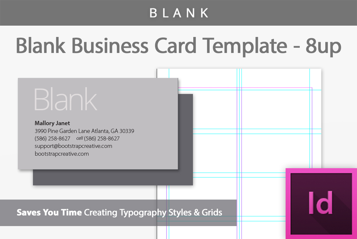 Blank Business Card InDesign Template B Design Bundles - Plain business card template