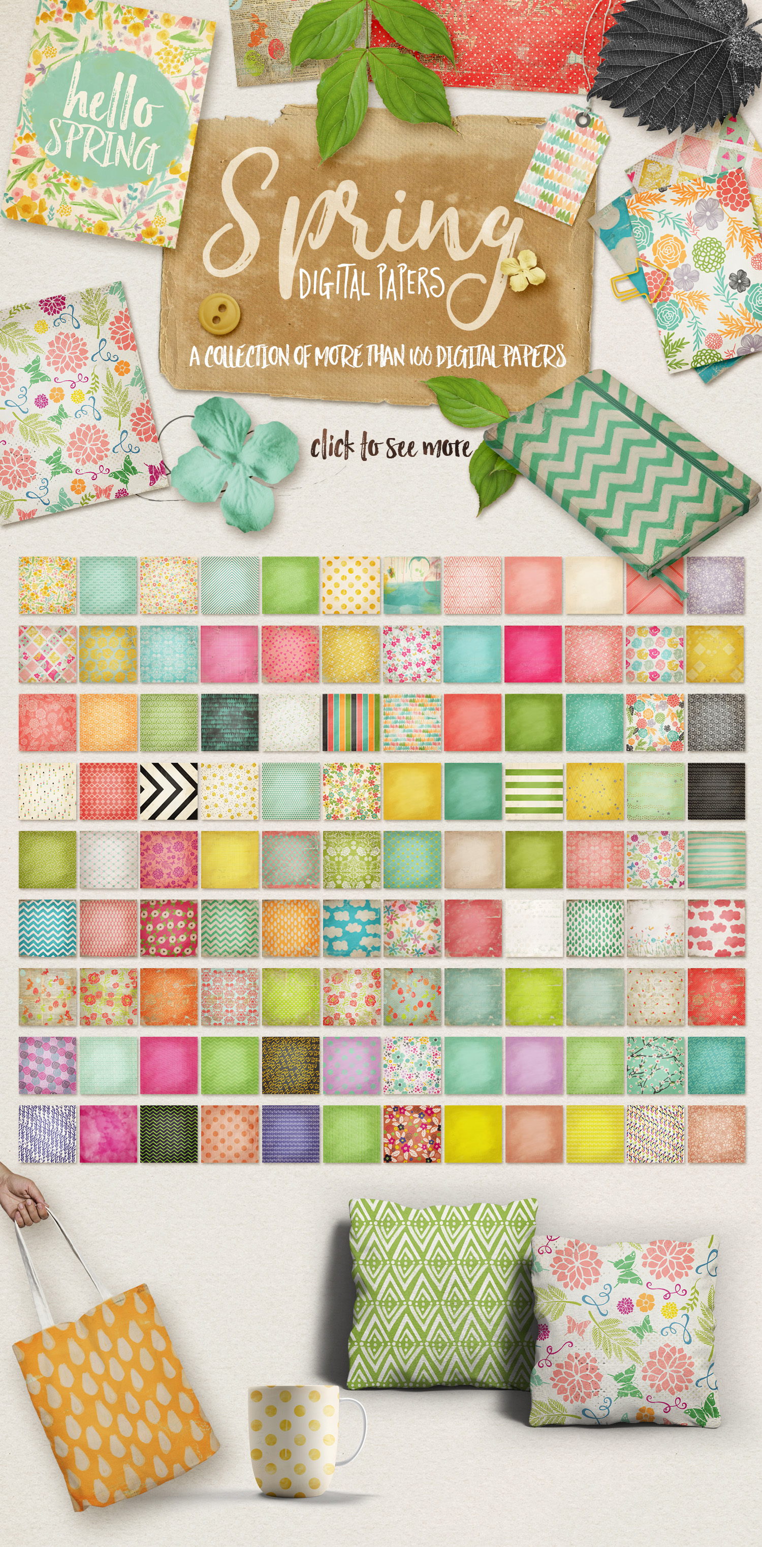 Spring Digital Papers Collections example image 1