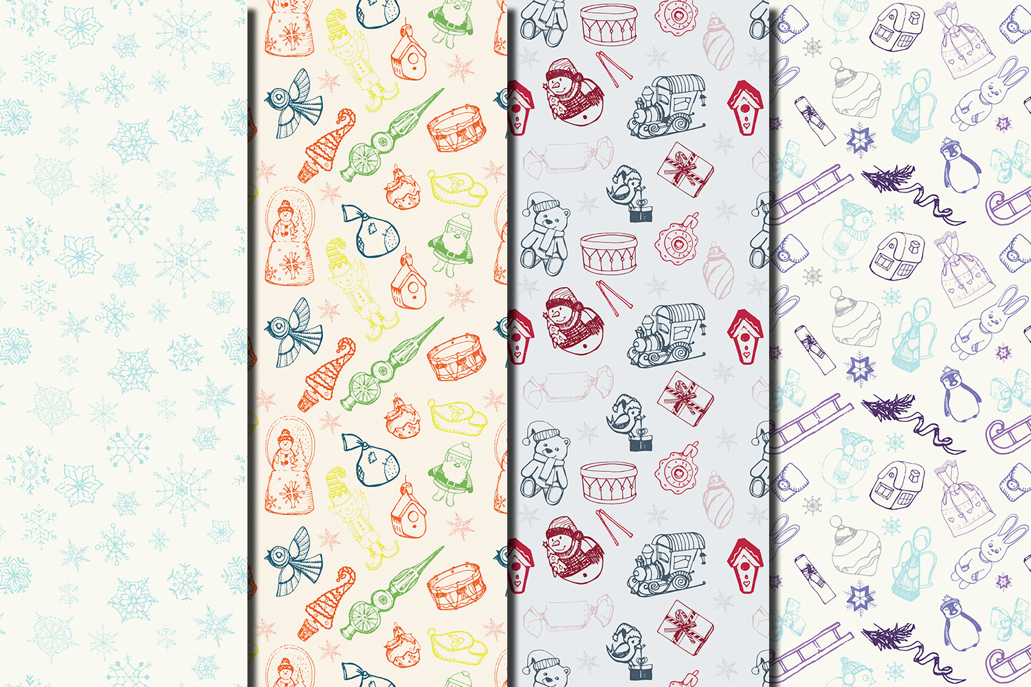 Christmas Hand drawn seamless digital paper pack example image 3