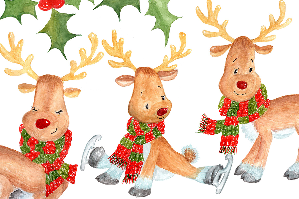 Watercolor Christmas kids clipart example image 2