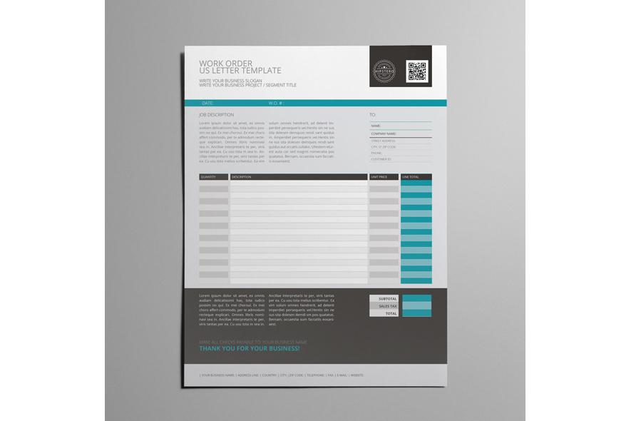 Work Order Us Letter Format Template By Design Bundles