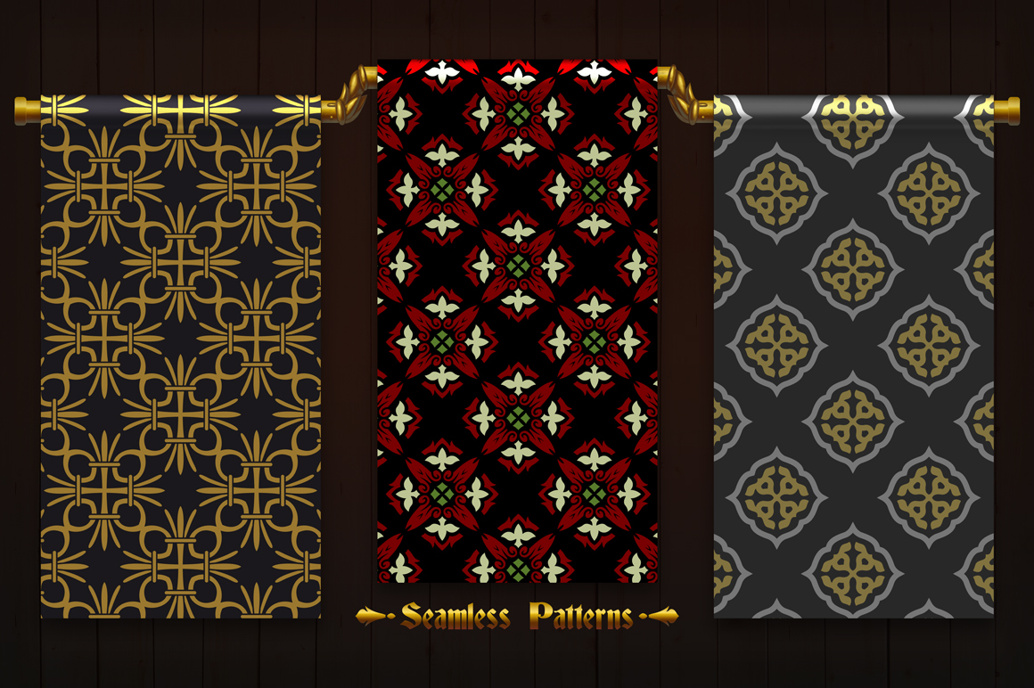 123 Vintage Seamless Vector Patterns example image 3