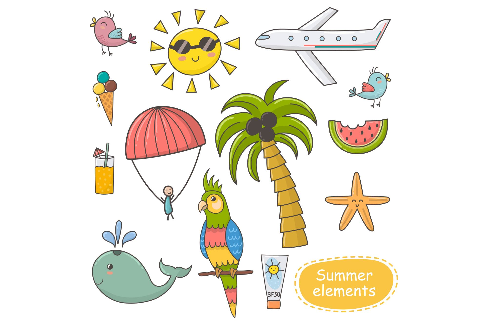 Summer Time: pattern & clipart example image 6