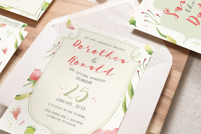 Foliage Illustration Wedding Invitation | Design Bundles