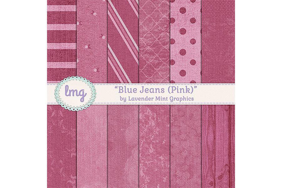 Pink Blue Jean Denim Digital Papers example image 1