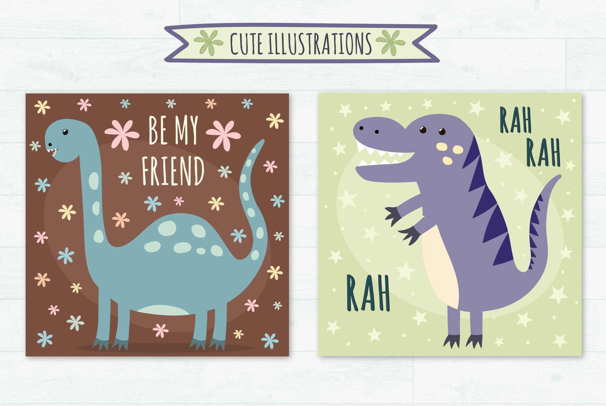 Dino Party: patterns & illusrations example image 7
