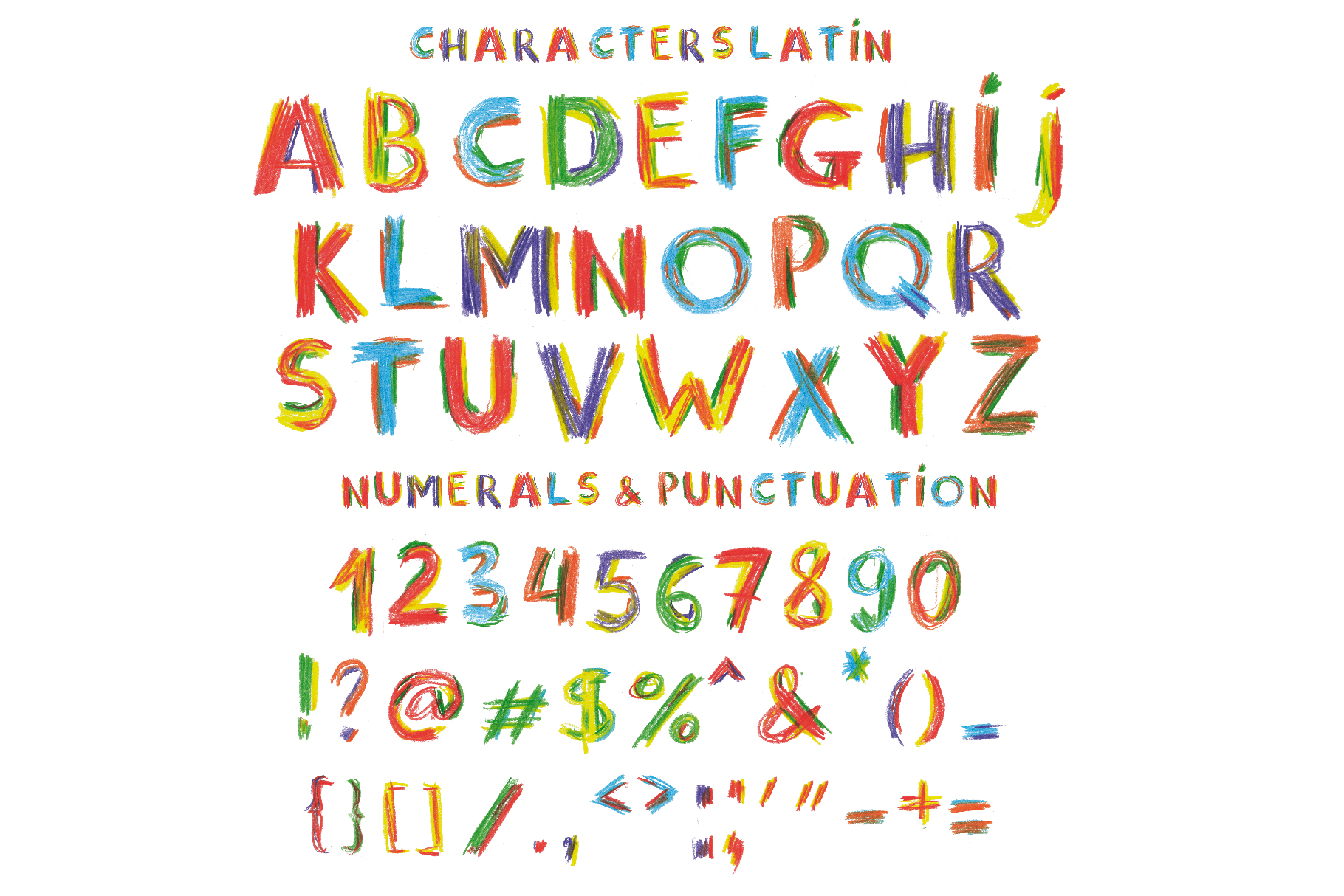 Happy Pencil bitmap color font example image 2