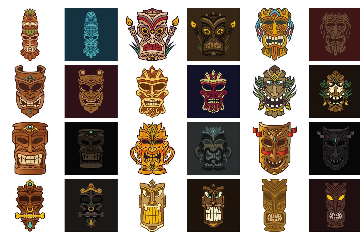 Tiki Head Illustrations Set example image 3